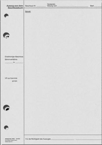 Vorstands-Sitzung Beschluss (Auszug) - Format DIN A4