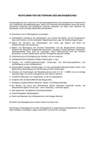 Einlage Richtlinien Bautagebuch Formblattmuster VI