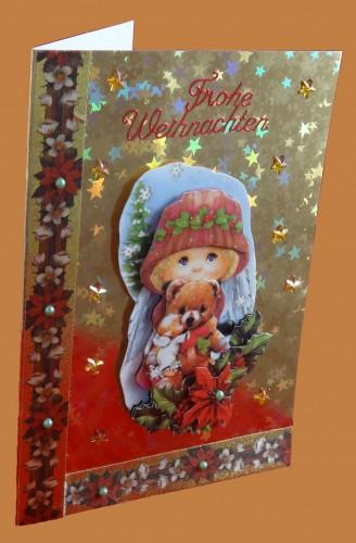 Weihanchtskarte Engel mit Bär