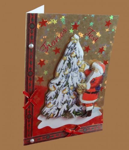 Weihnachtskarte mit Christbaum und Weihnachtsmann