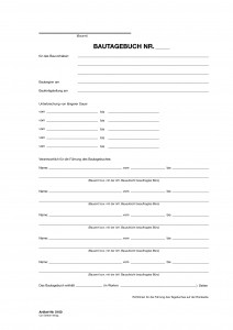 Einlage Titel Bautagebuch Formblattmuster VI