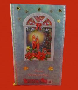 Weihnachtskarte mit Fensterrahmen