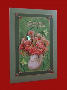 Glückwunschkarte Blumenstrauß in der Vase