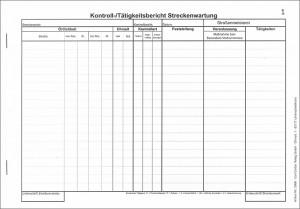 Kontroll-/Tätigkeitsbericht Streckenwartung