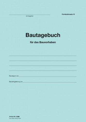 Umschlag Bautagebuch Formblattmuster VI