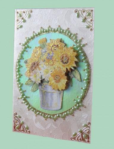 Grußkarte mit gelben Blumen