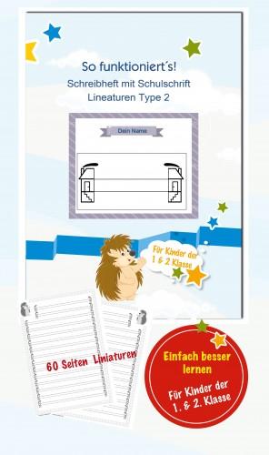 Schreibheft mit Schulschrift Lineaturen Type 2
