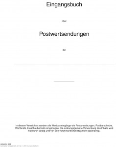 Eingangsbuch über Postwertsendungen (300 S.)
