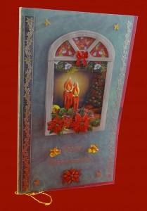 Weihnachtskarte mit Fenster zum öffnen