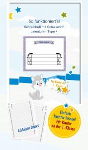 Schreibheft mit Schulschrift Lineaturen Type 4
